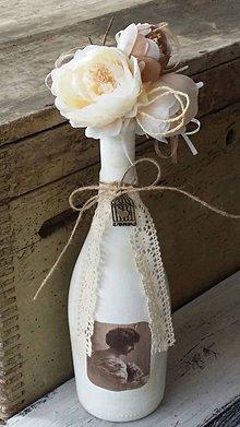 Dekorácie - Vintage fľaša s kytičkou - 5212982_