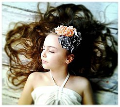 Ozdoby do vlasov - Čelenka- marhuľka v dyme - 5215323_