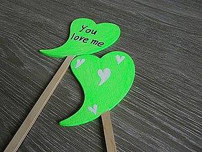 Dekorácie - ceduľky I love you - neónová zelená - 5214941_