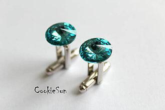 Šperky - Manžetové gombíky Swarovski Light Turqoise - 5213867_