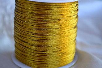 Galantéria - Saténová šnúrka zlatá, 1mm - 5211874_