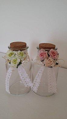 Dekorácie - Ružičkové dekoračné fľaštičky - 5215788_