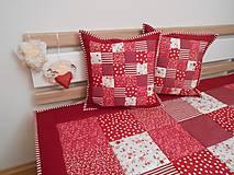 Úžitkový textil - patchwork obliečka 40x40 cm bordovo červená - biela - 5219002_