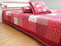 Úžitkový textil - prehoz na posteľ patchwork deka bordovo červená biela - 5219022_