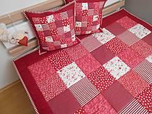 Úžitkový textil - prehoz na posteľ patchwork deka bordovo červená biela - 5219024_