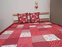 Úžitkový textil - prehoz na posteľ patchwork deka bordovo červená biela - 5219030_