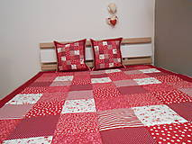 Úžitkový textil - prehoz na posteľ patchwork deka bordovo červená biela - 5219055_