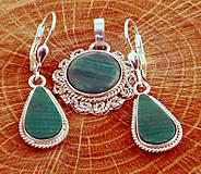 Sady šperkov - malachit - vintage set - AG 925 - 5216561_