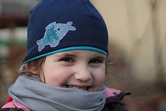 Detské čiapky - Chlapčenská čiapka s autami a rybkou-obojstranná - 5217531_