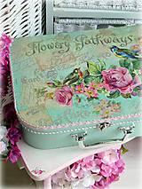 Krabičky - Flowery mint kufrík - 5218795_