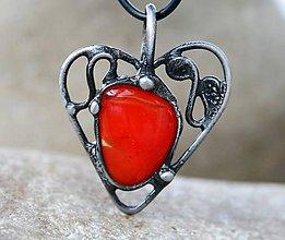 Náhrdelníky - Červené sklo náhrdelník/prívesok - 5215819_