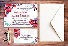 Grafika - Květinové svatební oznámení - svatební sada - 5223579_