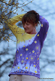 Tričká - Dámske tričko batikované a maľované VÍTANIE JARI - 5224266_