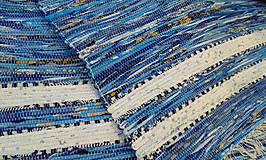 Úžitkový textil - Koberec modrý s bielymi pásmi 190x75cm - 5224935_