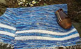 Úžitkový textil - Koberec modrý s bielymi pásmi 190x75cm - 5224938_