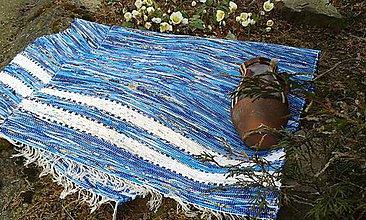 Úžitkový textil - Koberec modrý s bielymi pásmi 190x75cm - 5224936_