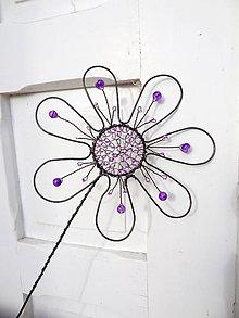 Dekorácie - kvet..Fialkovček obyčajný...zápich - 5228001_