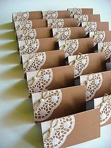 Papiernictvo - svadobné menovky krajkované - 5229612_
