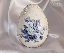 Dekorácie - Veľkonočné vajíčko -Ako z porcelánu/Blue - 5232733_