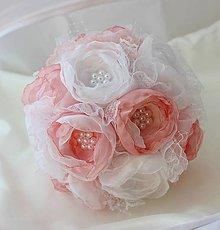 Kytice pre nevestu - Svadobná kytica ružová jemnosť - 5230902_