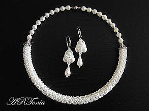 Sady šperkov - Šitý svadobný perličkový set - 5232854_