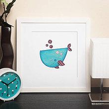 Grafika - Rozprávková veľryba  (séria Zasnené zvieratká) - 5236817_