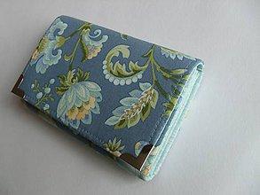 Peňaženky - Peňaženka kvety na modrej - s modrou - 5236407_