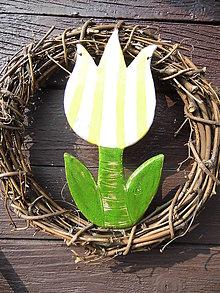 Dekorácie - Tulip žlto-bielo pásikavý - 5235977_