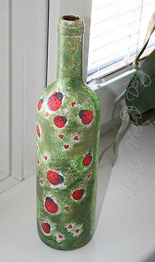 Nádoby - recy  deko fľaša lienky - 5234025_
