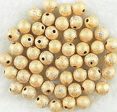 Korálky - Zlate metalicke gulicky s flitrami 4mm - 5239343_