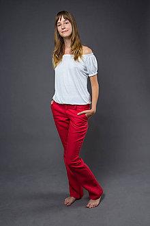 Nohavice - Dámske Classic, červené. Dámske 100% konopné nohavice - 5237747_