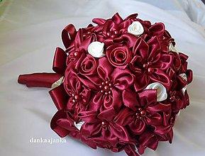 Kytice pre nevestu - Svadobná vínovo- červená kytica - 5240850_