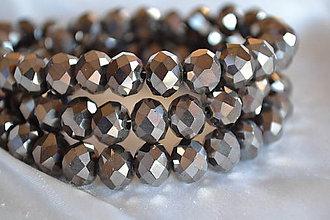 Korálky - Korálka sklenená brúsená šedá, 10mm - 5237805_