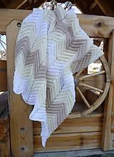 Textil - Hačkovaná krémová deka na zohriatie... - 5237413_