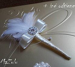 Pierka - svadobné pierko so štrasom - 5244462_