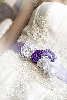 Opasky - Svadobný opasok fialkový - 5245290_