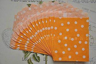 Obalový materiál - papierovy sacok oranzova bodka - 5249507_