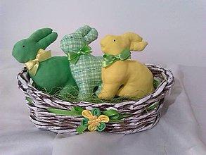 Dekorácie - Veľkonoční zajkovia- zelenožltí - 5245920_