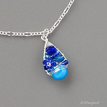 Náhrdelníky - Náhrdelník BLUE FLOWERS...řetízek - 5254023_