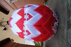 Dekorácie - Patchworkové vajíčko červeno-biele - 5253990_
