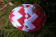 Dekorácie - Patchworkové vajíčko červeno-biele - 5253991_