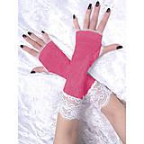 Rukavice - Rukavice růžové s čipkou 1095 - 5255464_