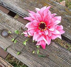 Ozdoby do vlasov - Ružová chryzantéma (sponka + brošňa) - 5260146_