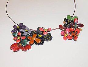 Náhrdelníky - divoké kvety náhrdelník a prsteň - 5263800_