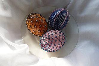 Dekorácie - Drôtikované vajcia s korálkami - 5262182_