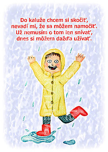 Papiernictvo - Linajková podložka pod zošit Detský svet - v daždi (+ básnička) - 5260926_