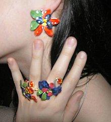 Náušnice - klipsne flowers na široké dierky - 5265424_
