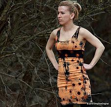 Šaty - Šaty tielkové s ozdobným pásom, šité, batikované a maľované POMARANČ V POPOLE - 5264816_