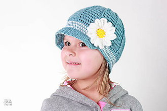 Detské čiapky - biely kvet - 5267330_