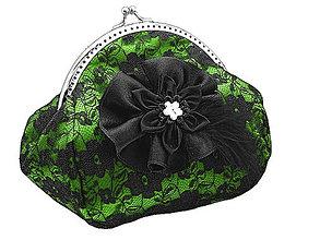 Taštičky - Spoločenská zelená čipková dámská kabelka  0855E - 5270983_